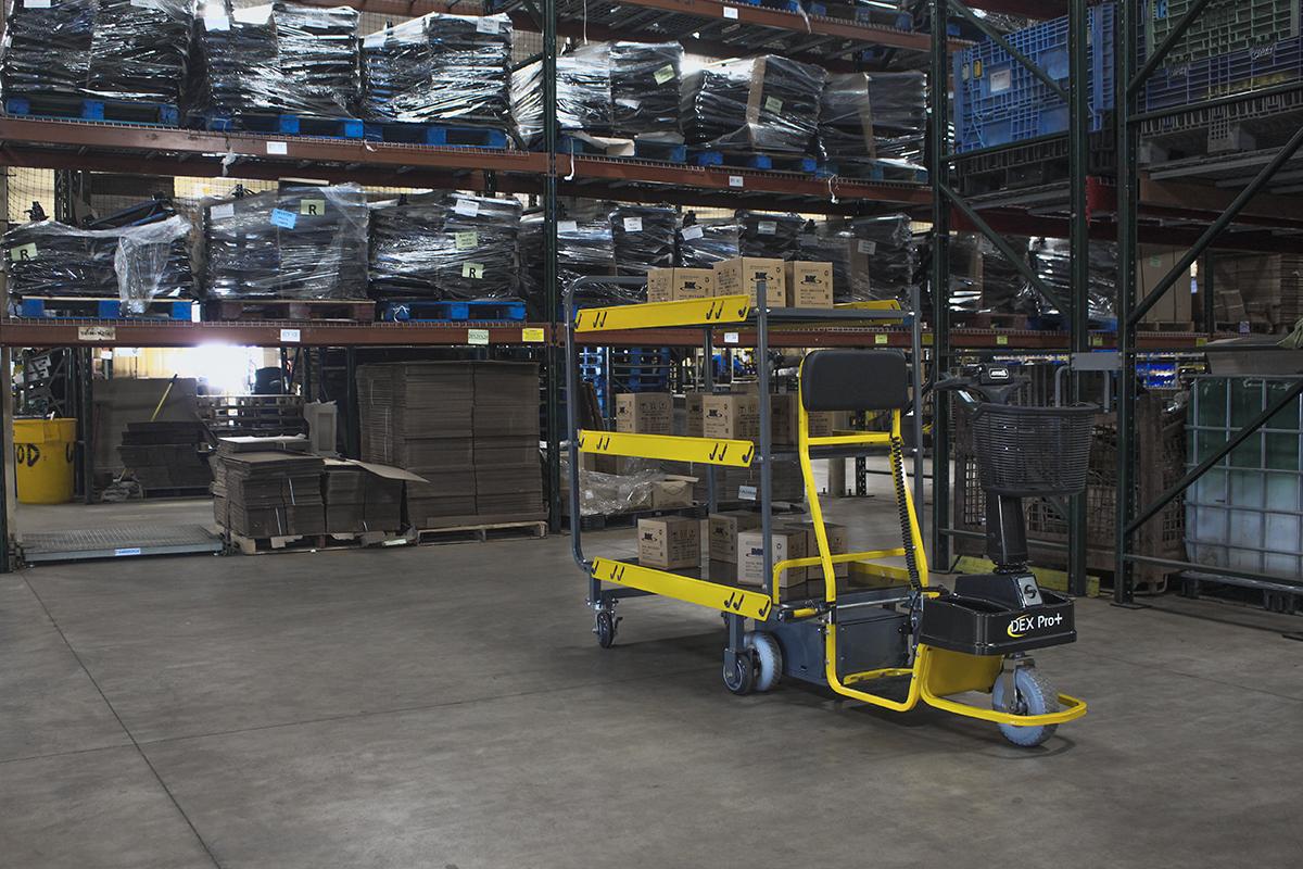 Amigo Mobility distribution center and warehouse carts