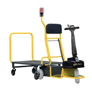 Motorized industrial material handling cart with detachable trailer