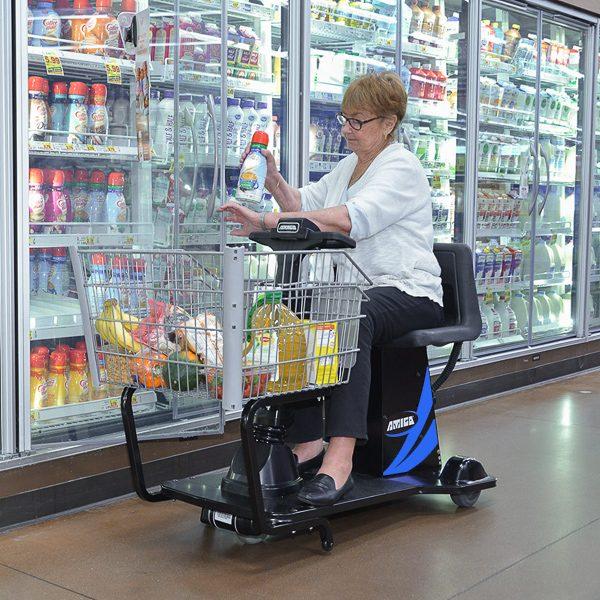Amigo valueshopper motorized shopping cart can be operated near coolers