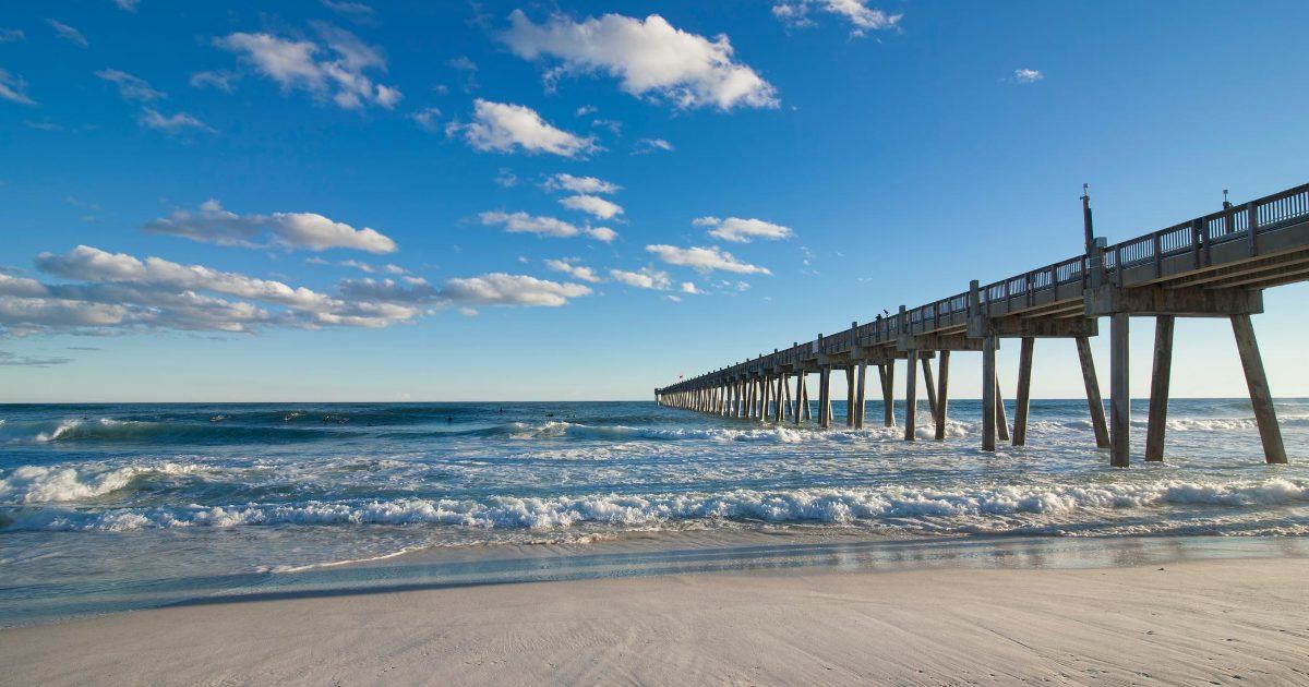 Pensacola Beach Boardwalk over ocean