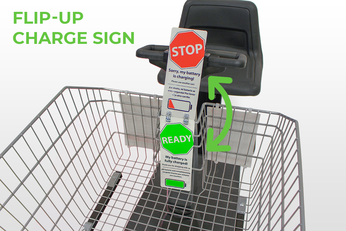 Amigo Mobility flip up charging sign